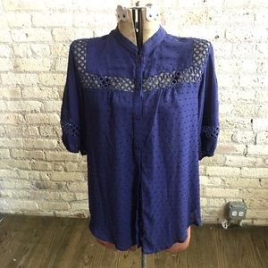 Navy Anthropologie Blouse (Size 12) NWT!